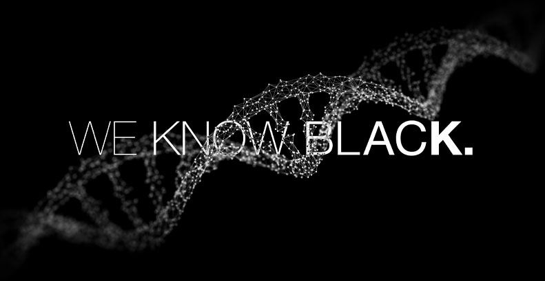 "DNA with ""WE KNOW BLACK"" written accross"